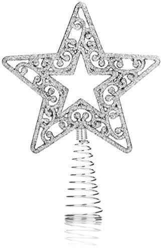 com-four® Weihnachtsbaumspitze für den Weihnachtsbaum, passend für Jede Baumspitze, bruchsicher, glitzernder Stern (01 Stück - 19cm/silberfarben)