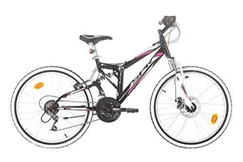 EDEN Bikes VTT 24'' Tout Suspendu Fille Ariane/SPR - 18 Vitesses - Frein Avant à Disque et V-Brake...
