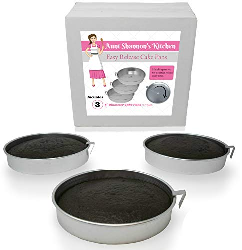 Aunt Shannon's Easy Release 8' Cake Pans - Set of 3 Quick Release Pans for Easy Cake Removal Every Time