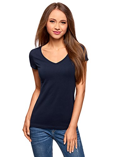 oodji Collection Damen T-Shirt Basic mit V-Ausschnitt, Blau, DE 38 / EU 40 / M