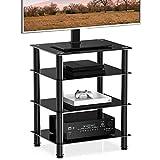 UMI. by Amazon Soporte para Multimedia con 4 Estante Mueble HiFi con Ruedas Cristal