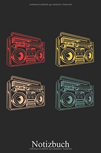 Notizbuch - Retro Ghettoblaster Boombox, Notizheft, Schreibheft, Tagebuch (Taschenbuch ca. DIN A 5 Format Liniert) von JOHN ROMEO: Vintage Musik ... für Frauen, Männer, Kinder – Von JOHN ROMEO