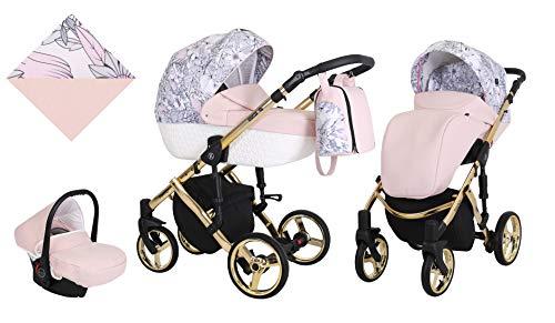 KUNERT Kinderwagen TIARO PREMIUM Sportwagen Babywagen Autositz Babyschale Komplettset Kinder Wagen Set 3 in 1 (Rosa mit Blumen, Rahmenfarbe: Gold, 3in1)