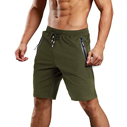 MAGCOMSEN Short d'été léger pour homme - Séchage rapide - Short de yoga - Course - Jogging - Taille élastique - Short de fitness avec plusieurs poches - Vert militaire - 36