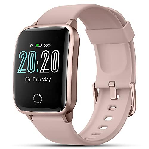 Smartwatch Damen Herren, Sportuhren mit Pulsmesser Schlafmonitor Schrittzähler, Fitness Tracker Wasserdicht IP68, Fitnessuhr mit 11 Trainingsmodi Sport Uhr, 1.3 Zoll Smart Watch Armbanduhr (Rosa)
