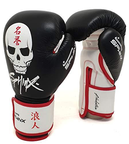 Sphinx Gear Blackstorm Skull, Guanto da Boxe Unisex-Adulto, Nero, 10 oz