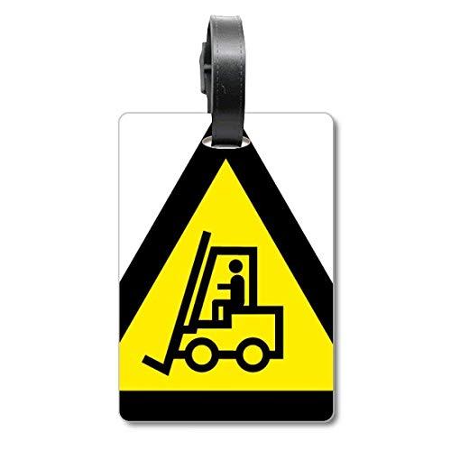 Warnzeichen gelb schwarz Gabelstapler Dreieckskreuzfahrer Kofferanhänger Gepäckanhänger Tourister Identifikationsetikett