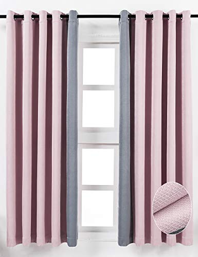 Luxury Blackout Patchwork Diamond Grid Pattern Window Curtain Panels, Heat Light Blocking Drapes for Living Room Drop Thermal Insulated Draperies Grommets Top 2 Panels, Pink Gray, 52 x 63 Inches