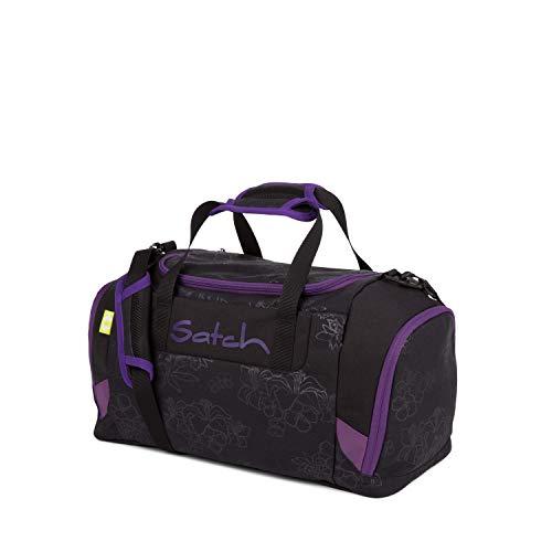 Satch Sporttasche Purple Hibiscus, 25l, Schuhfach, gepolsterte Schultergurte, Schwarz