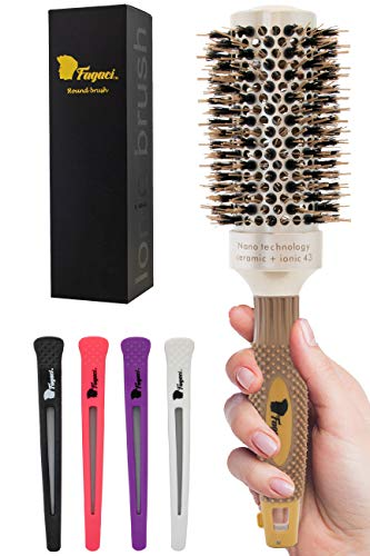 Fagaci Professional Round Brush for Blow Drying with Natural Boar...