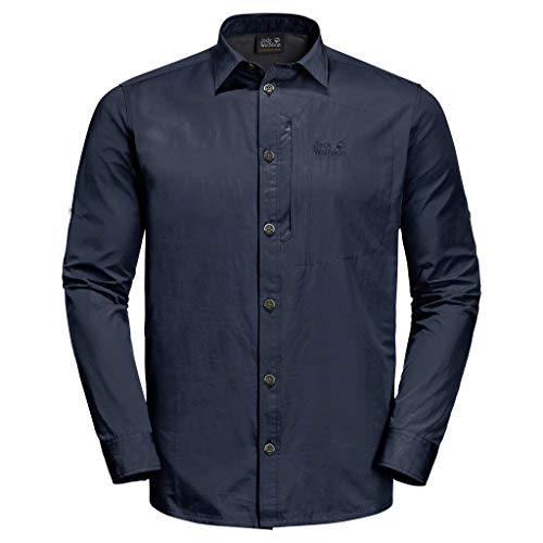 Jack Wolfskin Lakeside Roll-Up Chemise Men Homme, Night Blue, FR : M (Taille Fabricant : M)