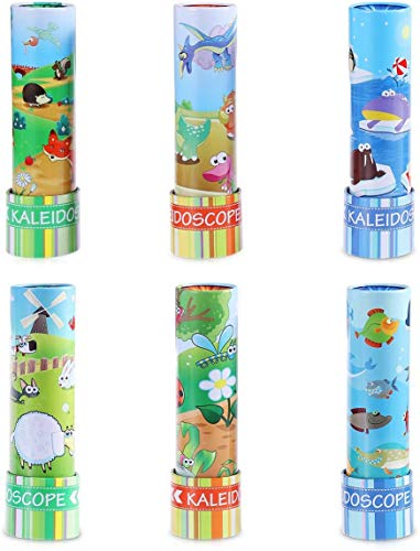 iBaseToy 1 Stück Kaleidoskop Kinder Spielzeug aus Metall – 6 Verschiedene Designs Zufällige Lieferung, Mitgebsel Kindergeburtstag, Kinderparty