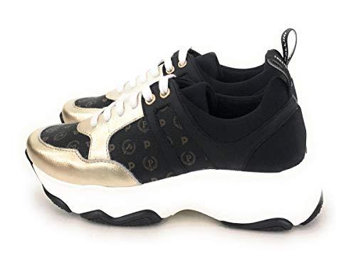 Pollini Sneaker Donna in Stampa Heritage (Colori:Nero-Bronzo, Nero-Oro). Linguetta Posteriore con Logo para Colore Bianco.Chiusura Sneaker con Lacci