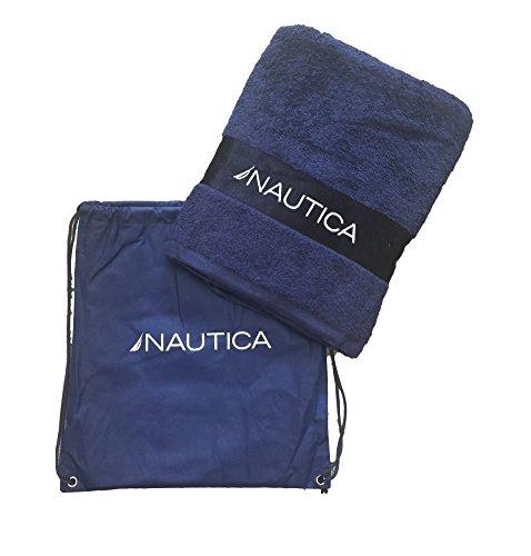Ducomi Nautica strandhanddoek van 100% katoen, absorberend, 150 x 90 cm, met tas voor Trasporto – licht, compact en droogt snel – voor vakantie, mare, zwembad en camping.