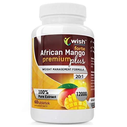 Wish Pharmaceutical African Mango Forte Premum Plus 20:1 600mg Paquete de 1 x 60 Tabletas Irvingia Gabonensis Extracto de Mango Africano Reducción de Peso Adelgazante de Quemador de Grasa