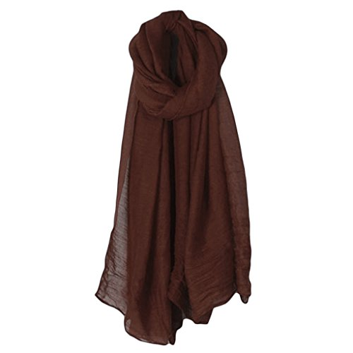 GHTGHTS Long foulard vintage en coton et lin pour femme - Couleur unie