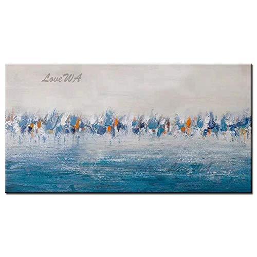 ZNYB Cuadros De Lienzo Decoracion Arte de Pared Azul Pintura al óleo Hecha a Mano Pesada sobre Lienzo Cuadros de Pared para la decoración del hogar de la Sala de Estar