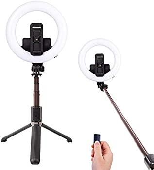 Aircover Selfie Stick Rechargeable Dimmable Makeup Ring Light