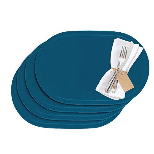 Westmark - Manteles individuales (vinilo, 45,5 x 29 cm, 4 unidades), vinilo, azul cobalto, 45.5 x 29 cm
