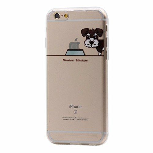 Keyihan Cover Compatibile con iPhone 6 e iPhone 6S Custodia Ultra Leggera Sottile Trasparente Chiaro disegni Morbida Silicone TPU Case Divertente Carina Cucciolo Cane Modello (Miniature Schnauzer)