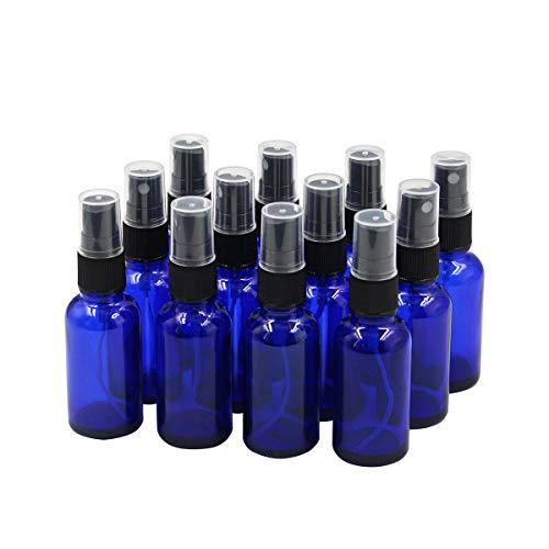 Sookg 12 botellas de spray de cristal vacías de 30 ml, tiene una función de atomización y un efecto anti-UV, para aceites esenciales, perfume, fortalecedor (azul)