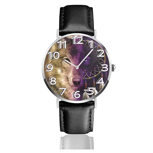 Reloj de Pulsera Lobo Atrapasueños Durable PU Correa de Cuero Relojes de Negocios de Cuarzo Reloj de Pulsera Informal Unisex