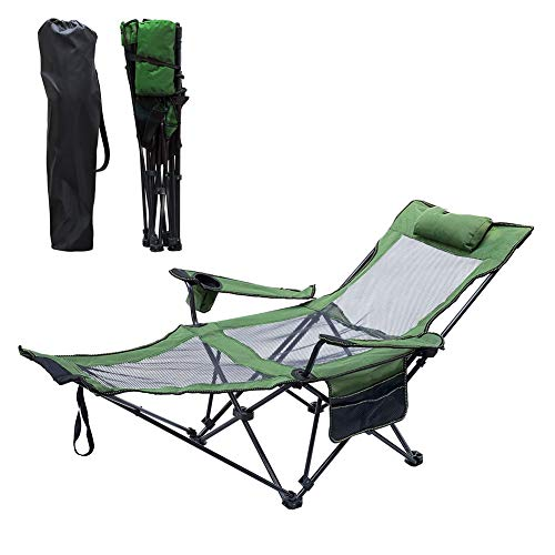 ELQ Folding Camping Chair Mesh Lawn Chairs Recliner with Removable Pillow Cup Holder and Footrest Support 330 LBS for Outdoor Beach Pool