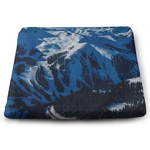 N/A Quadratische Sitzkissen Hippie Tapisserie Schnee Premium Komfort Memory Foam Küche Stühle Pad für Terrasse, Büro, Küche, Schreibtisch, Reisen, Kinder, Yoga, LKW, Fahrer, Auto