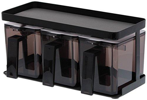 山崎実業 調味料入れ 調味料ストッカー&ラック タワー 3個セット ブラック 3344