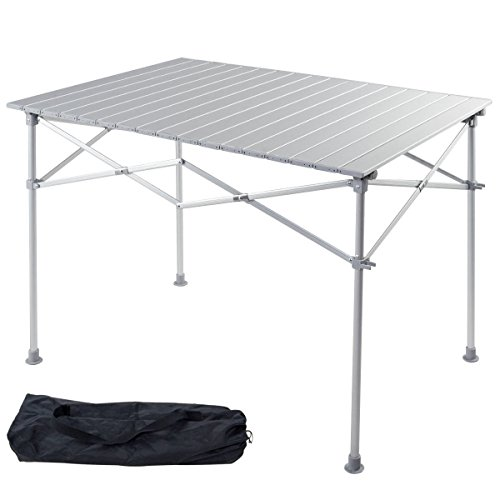 Giantex Portable Aluminum Folding Table Lightweight Outdoor Roll Up Camping Picnic Table with...