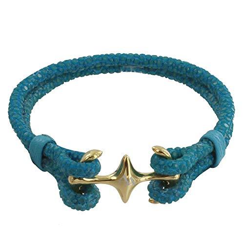 Schmuck Les Poulettes - Vergoldet Rhodium Gemischt Armband Doppel Anker und Leder - 18cm Colors - Turquoise