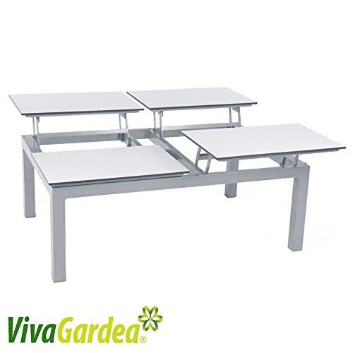 ROG garden-line Lounge-Tisch Chili 120 x 80 x 45 cm MIT 4 HOCHKLAPPBAREN HPL-Platten Weiss