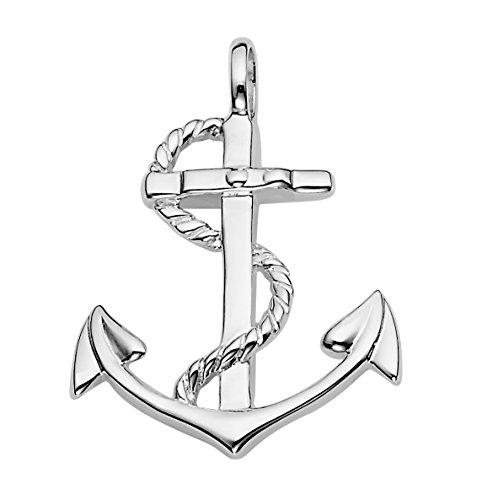Vinani Colgante de barco, ancla, símbolo de marinero, brillante, plata de ley 925 2AAG-EZ