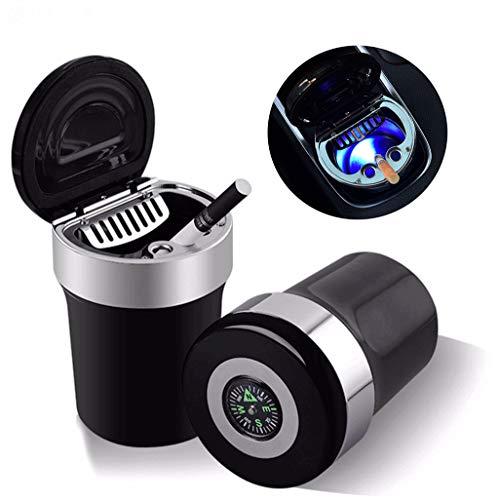 Auto-Aschenbecher tragbar mit blauem LED-Licht Feuerzeug Aschenbecher rauchfreies Raucherständer Zylinder Becherhalter