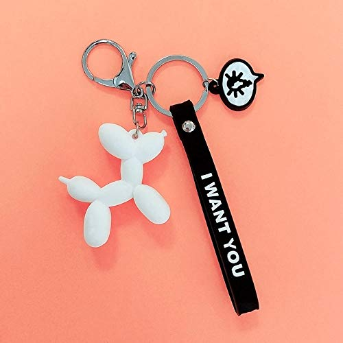 Sinzong dames sleutelhanger driedimensionale pop ballon hond sleutelhanger autotas hanger 2 stuks wit