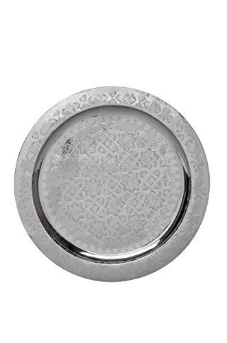 Orientalisches rundes Tablett aus Messing versilbert Deneb 40cm | Marokkanisches Teetablett in der Farbe Silber | Orient Silbertablett silberfarbig | Orientalische Dekoration auf dem gedeckten Tisch