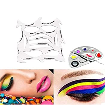 Makeup Stencils & Stainless Steel Cosmetic Makeup Palette Reusable Makeup Template & Makeup Nail Art Palette Suitable for eyebrows eye shadow eyeliner etc.