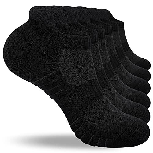 PULIOU Sneaker Socken Herren Damen 6 Paar Sportsocken Gepolsterte Laufsocken Socken Baumwolle Atmungsaktiv Schwarz Weiß Grau