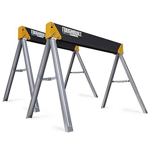 ToughBuilt - Folding Sawhorse/Jobsite Table - Sturdy, Durable, Lightweight, Heavy-Duty, 100% High Grade Steel, 1100lb Capacity, Easy Carry Handle -...