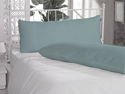 """SPECIAL_THINGS 2 Piece Body Pillow Cases 20""""x54"""" Size in Aqua Blue Color with Solid Pattern and 300 Thread Counts , 100% Egyptian Cotton"""