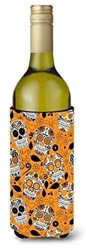 Caroline tesoros del día de los muertos naranja para botella de vino bebida Insulator Hugger, 750ml, Multicolor