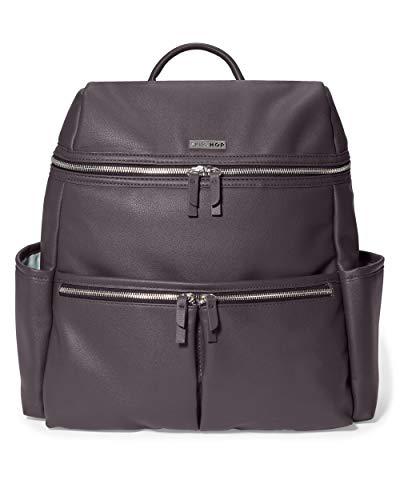 Skip Hop Diaper Bag Backpack: Flatiron Luxury Vegan Leather, Raisin