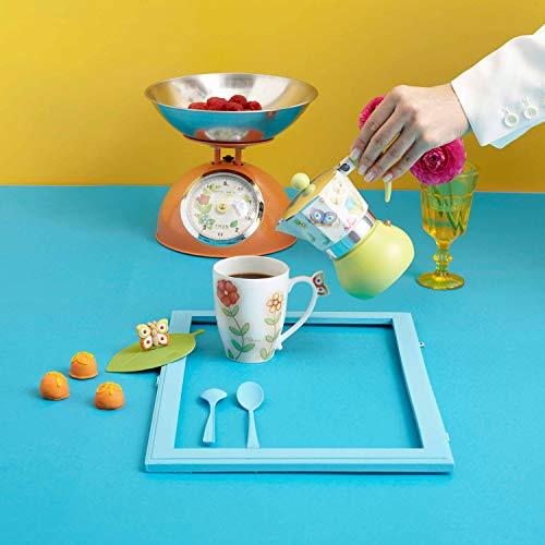 THUN - Caffettiera 3 Tazze, Decorata con Fiori e Farfalle - Accessori Cucina - Linea Country - Alluminio e Silicone - 8 x 8 x 13 h cm