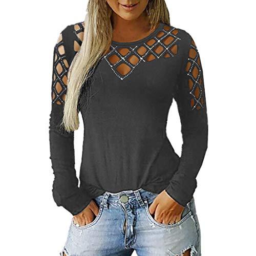 T-Shirt Damen Sexy Schulterfreie Bequeme Freizeitmode Rundhals Ausschnitt Herbst...