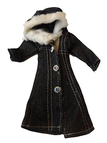 fat-catz-copy-catz - Puppenbekleidung Mantel für Barbie und Sindy Größe süßer Mantel aus Kunstpelz mit Kapuze 6 Farben zur Auswahl - Schwarz Blumenmuster Kapure