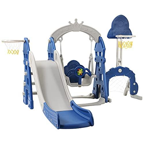 CHEIRS Parque Infantil 5 en 1, tobogán para niños, tobogán Multifuncional para niños pequeños con aro de Baloncesto, portería de fútbol, Columpio, Torre de Escalada, para niños de 2 a 8 años