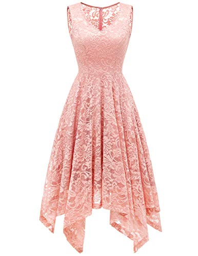 Womens Lace Cocktail Dress Elegant Floral Sleeveless V-Neck High Low Formal Prom...