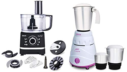 Inalsa Food Processor Easy Prep-800W with Processing Bowl & 7 Accessories,(Black) & Inalsa Jazz 550-Watt Mixer Grinder with 3 Jars, (White/Purple)