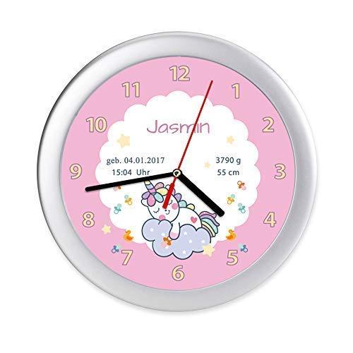 Kinderzimmer Uhr Einhorn Mädchen Baby Geburt Geburtsdaten personalisierte Wanduhr zur Geburt & Taufe