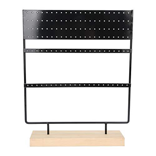 Porta orecchini, organizer per orecchini in metallo resistente per collane per gioielli per orecchini per ciondoli(Nero)